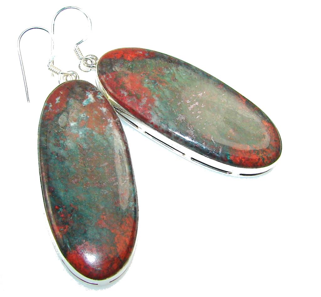 Classy! Red Sonora Jasper Sterling Silver earrings