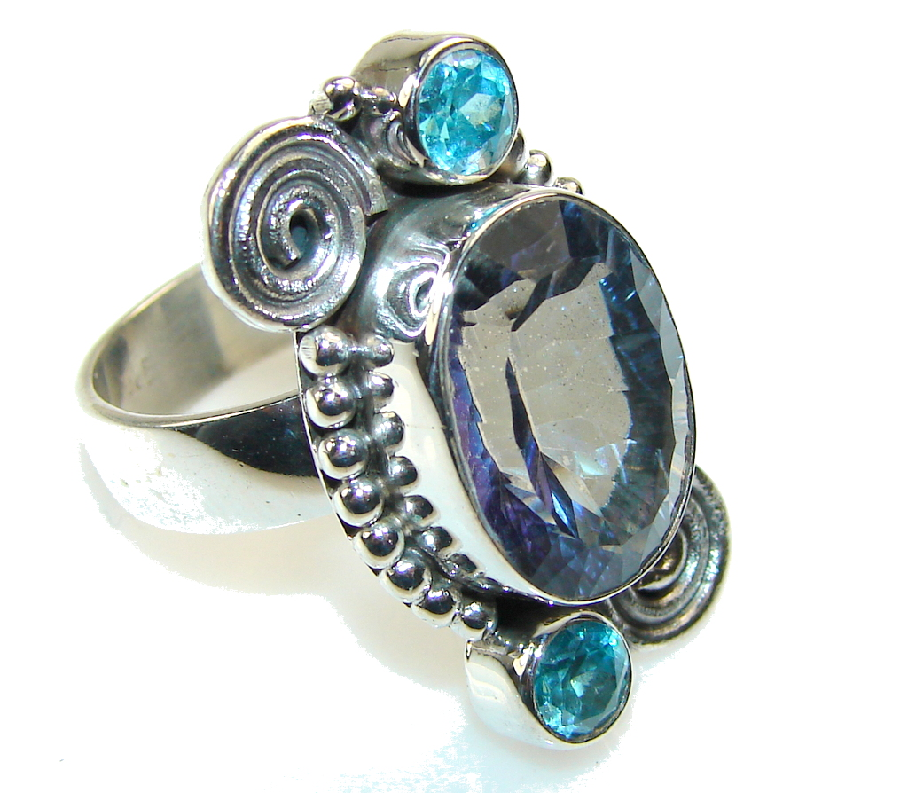 Amazing Blue Magic Topaz Sterling Silver ring; s. 8 1/2
