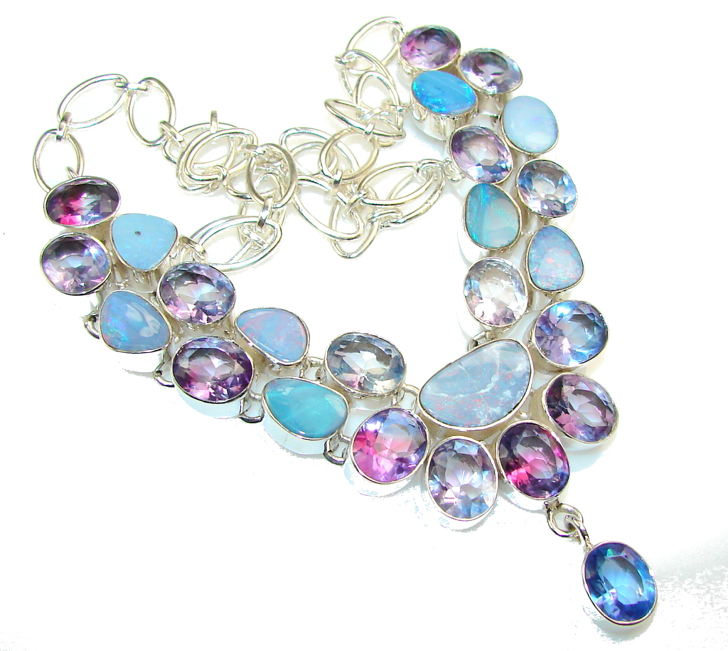Awesome Color Changing Quartz Sterling Silver necklace