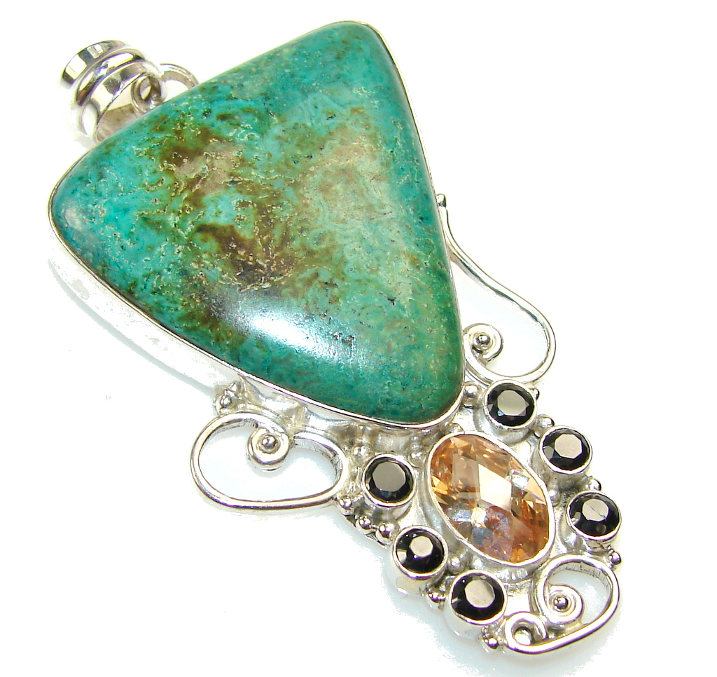 Classy Green Chrysocolla Sterling Silver Pendant