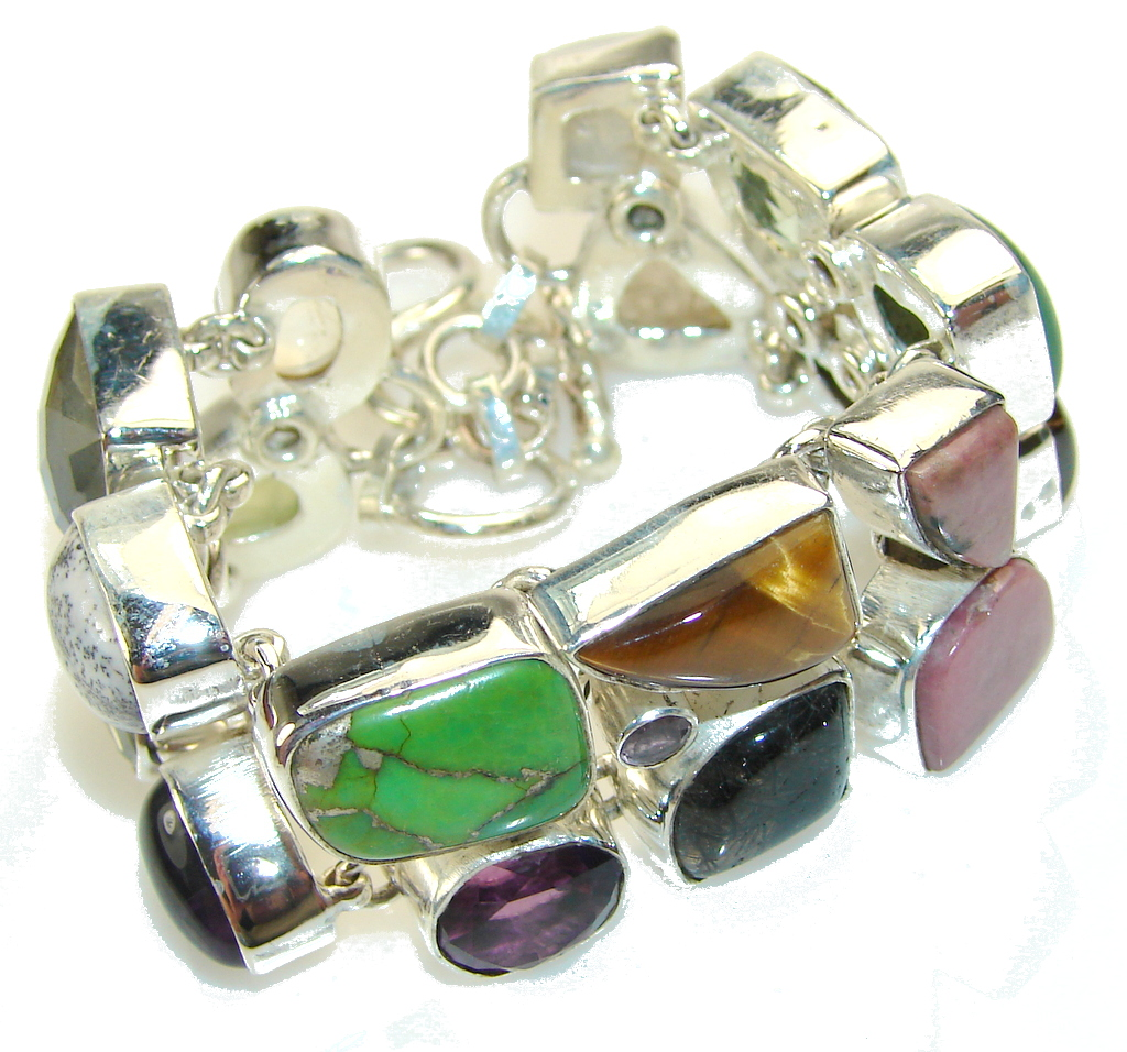 Pale Beauty!! Multigem Sterling Silver Bracelet