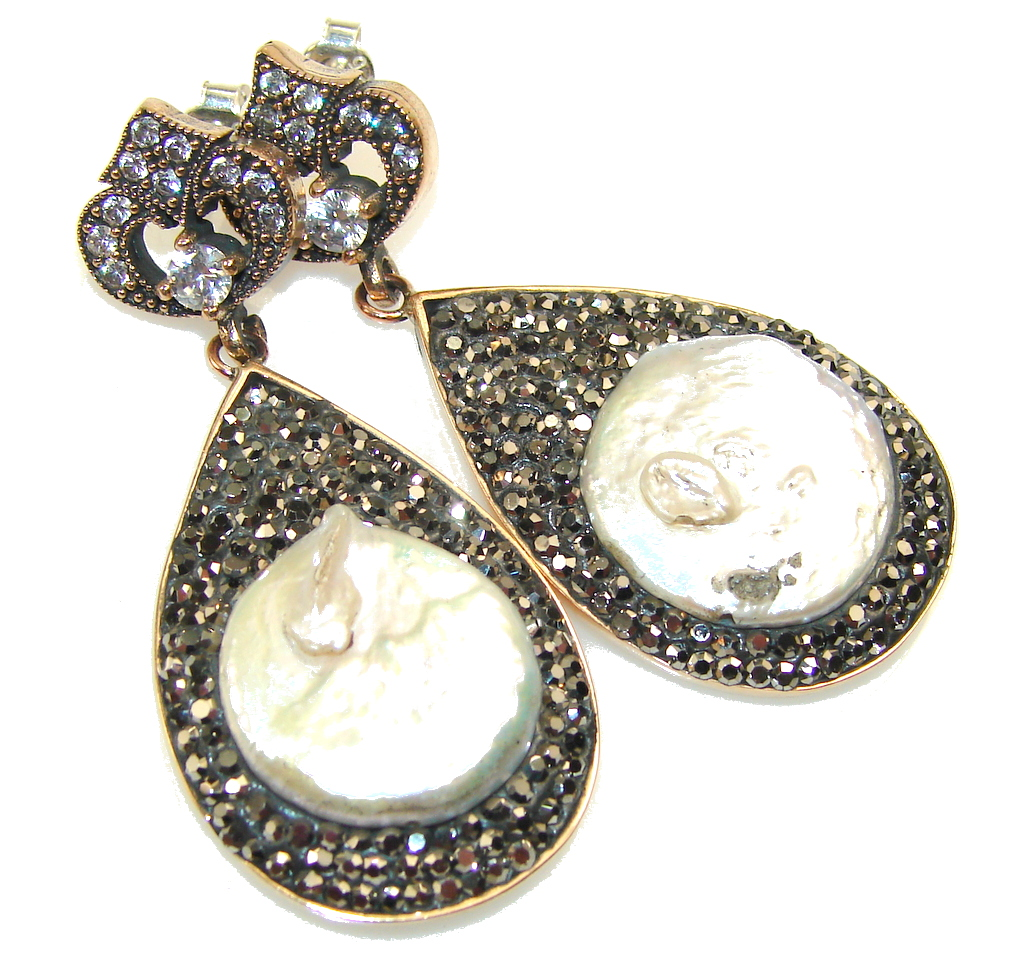 marcassite.com Turkish Design!! Mother of Pearl Sterling Silver earrings
