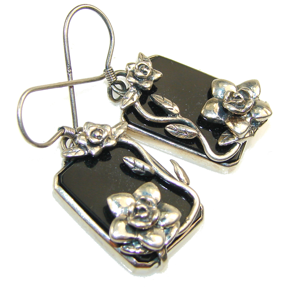 Flower Design!! Black Onyx Sterling Silver earrings