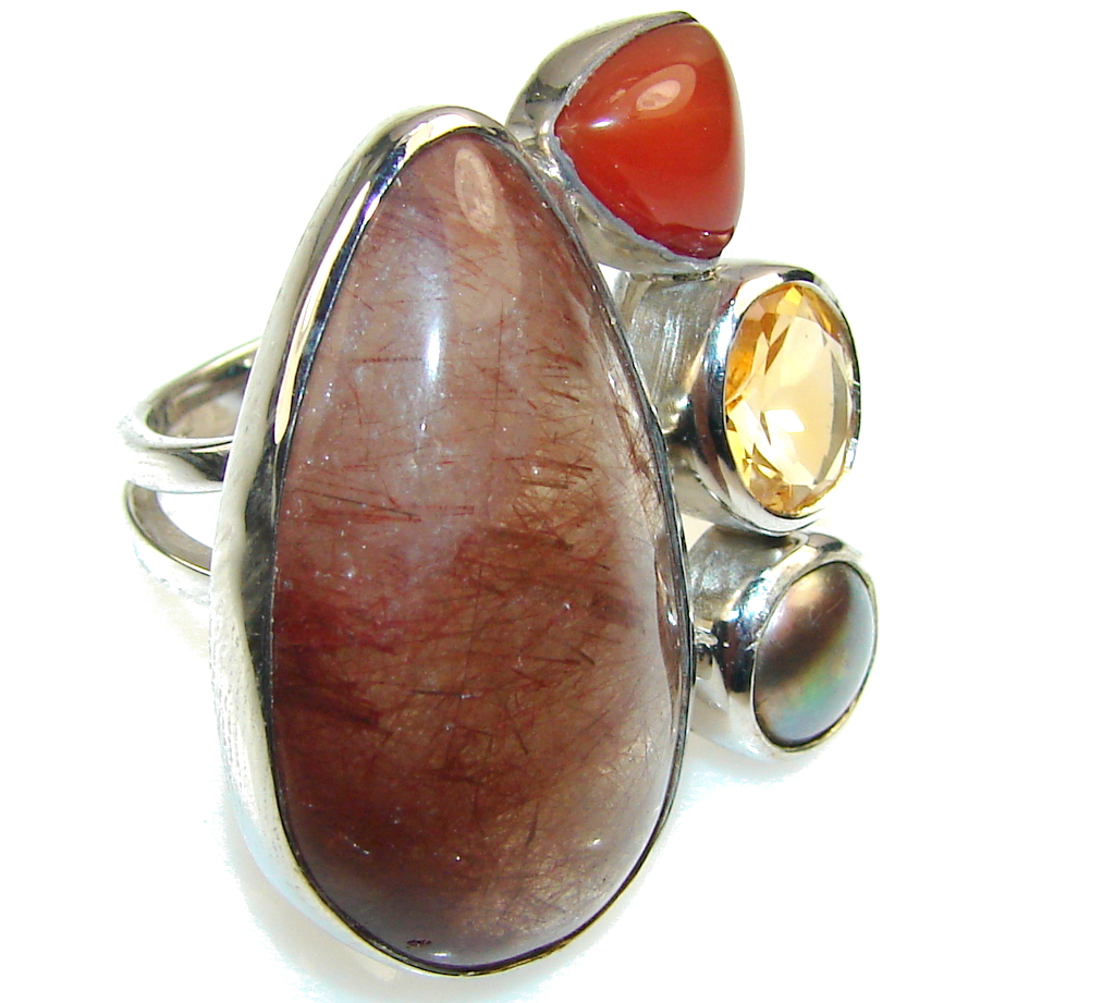 Precious Calcite Sterling Silver ring s. 6 - Adjustable