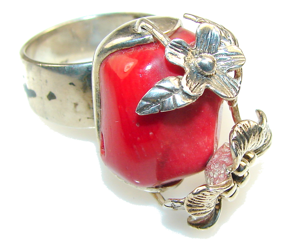 Flower Design!! Fossilized Coral Sterling Silver ring s. 9