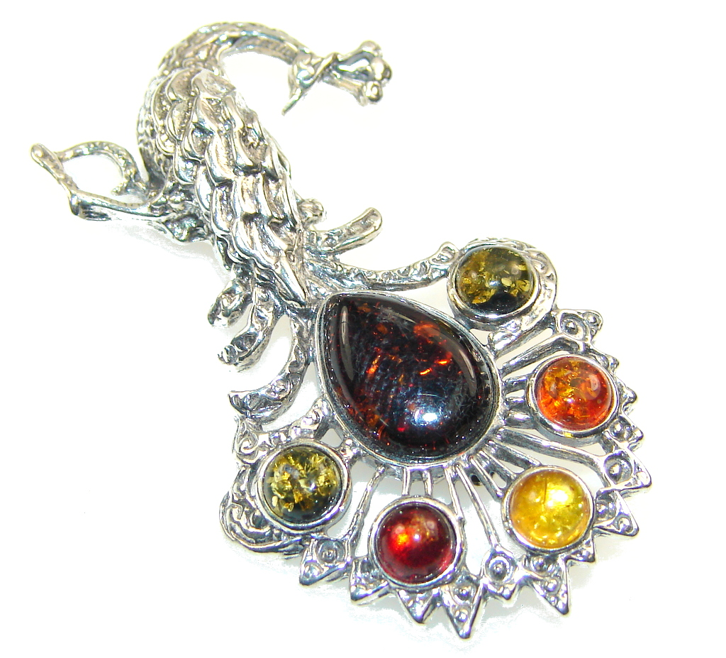 Amazing Multicolor Polish Amber Sterling Silver Pendant / Brooch