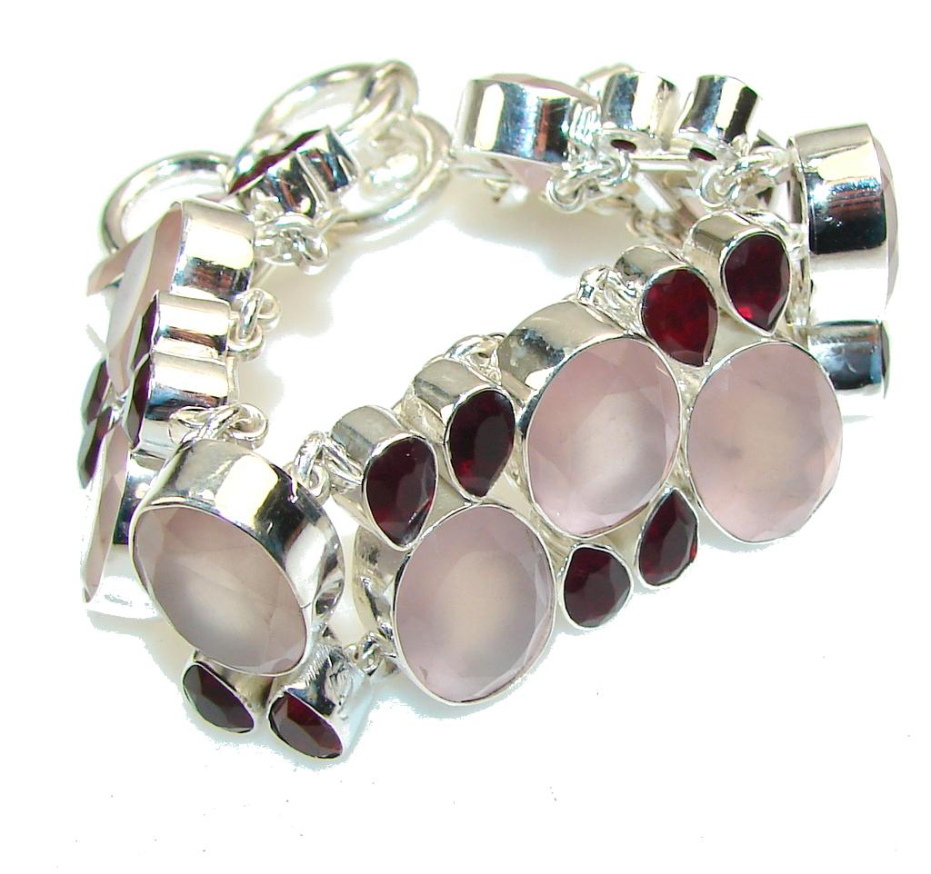 Secret Pink!! Rose Quartz Sterling Silver Bracelet
