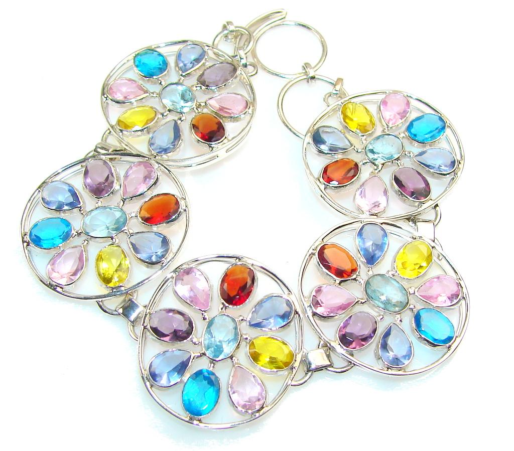 Paradise!! Multicolor Quartz Sterling Silver Bracelet