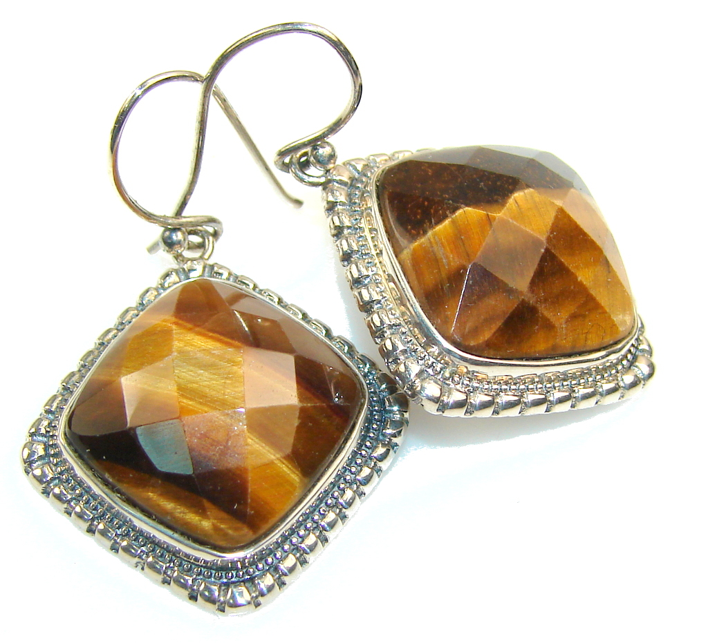 Amazing Brown Tigers Eye Sterling Silver earrings