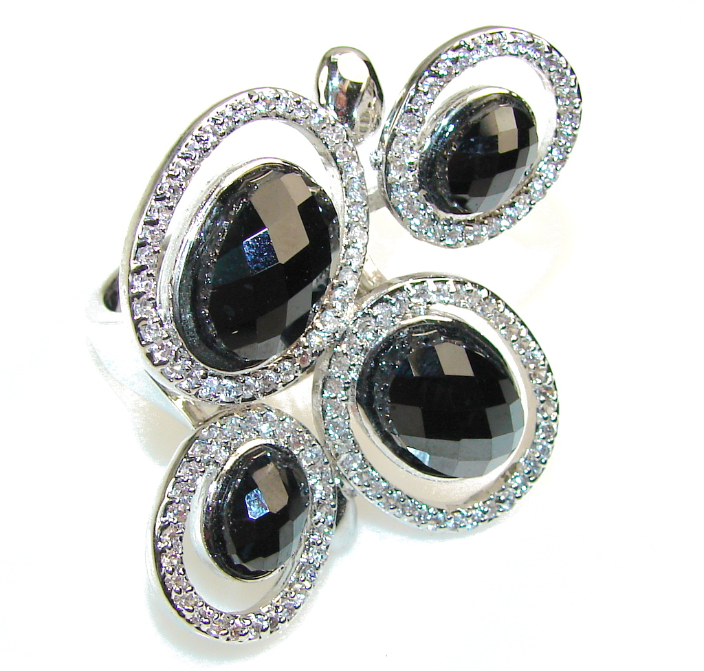 Large!! Excellent Hematite Sterling Silver Ring s. 7