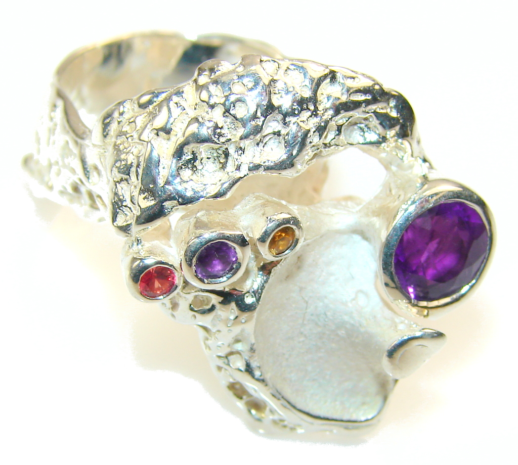 Big!! Delicate Italy Made Purple Amethyst Sterling Silver ring; 9