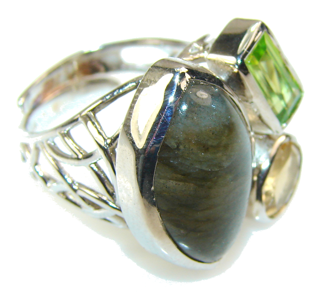 Fantastic Labradorite Sterling Silver Ring s. 8- Adjustable