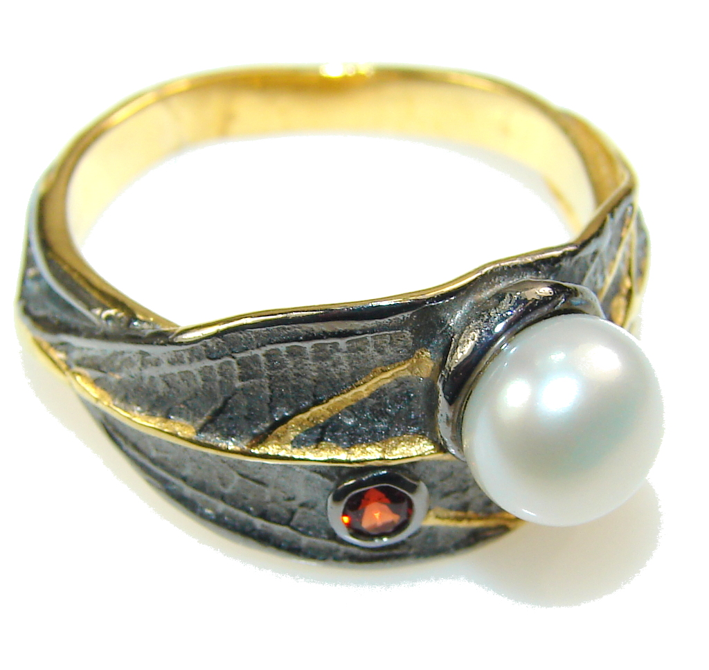 jewelpearl.com Delicate Italy Made Fresh Water Pearl Rhodium Plated 18ct Gold Sterling Silver ring; 9