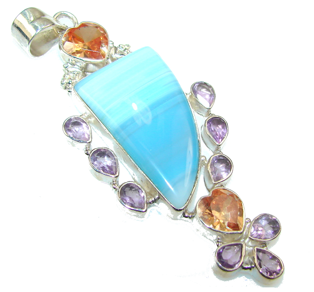 Big Ocean Daisy!! Blue Lace Agate Sterling Silver pendant