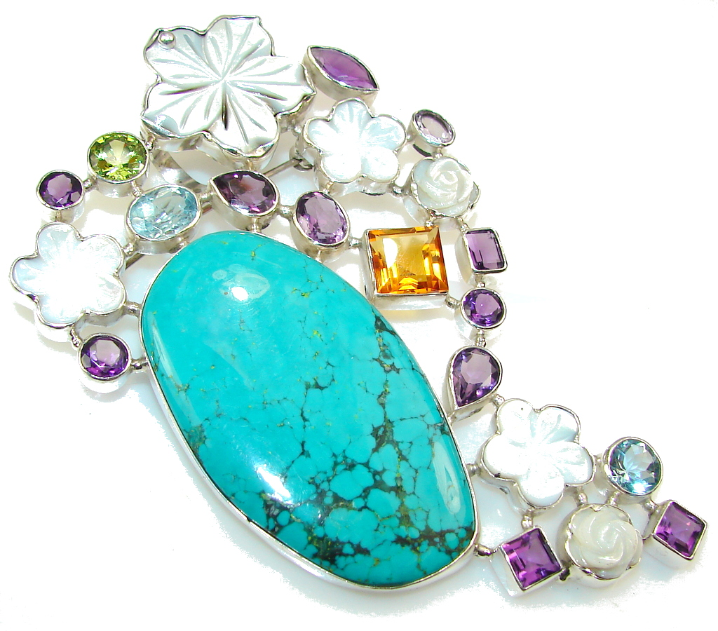 Huge!! New Design Of Turquoise Sterling Silver Pendant / Brooch