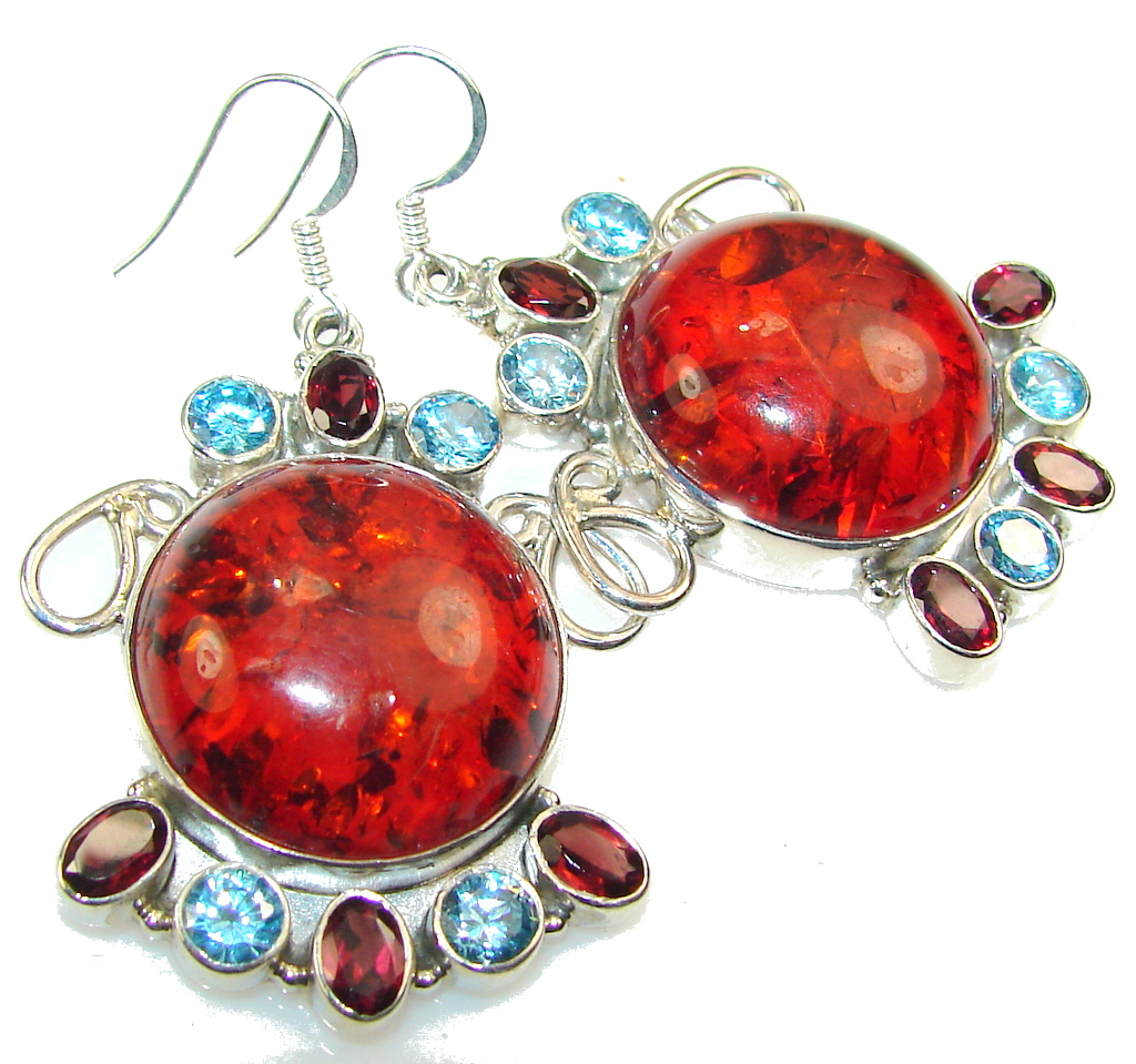 New Pressed Polish Amber Sterling Silver earrings