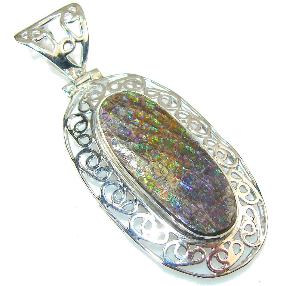 Image of Secret Rainbow Ammolite Sterling Silver Pendant