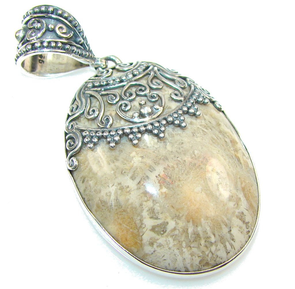 Image of Fantastic Brown Fossilized Coral Sterling Silver pendant