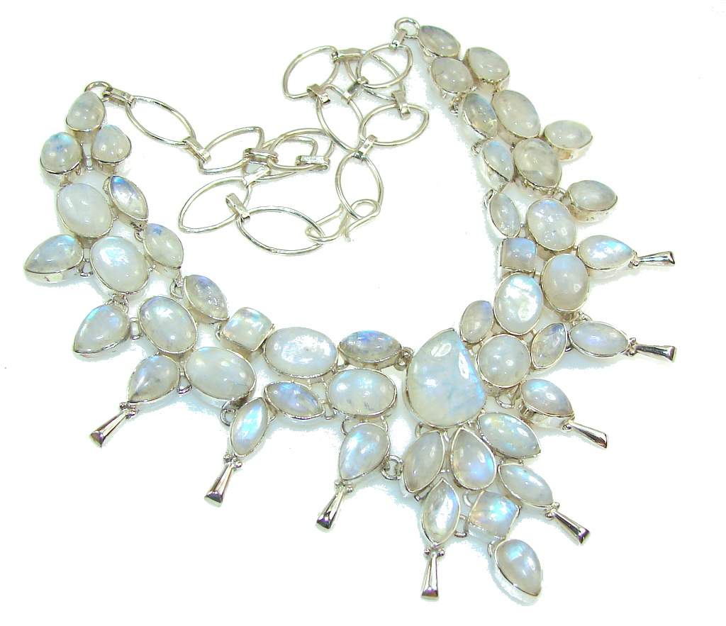 Huge!! Fabulous Design Of White Moonstone Sterling Silver necklace