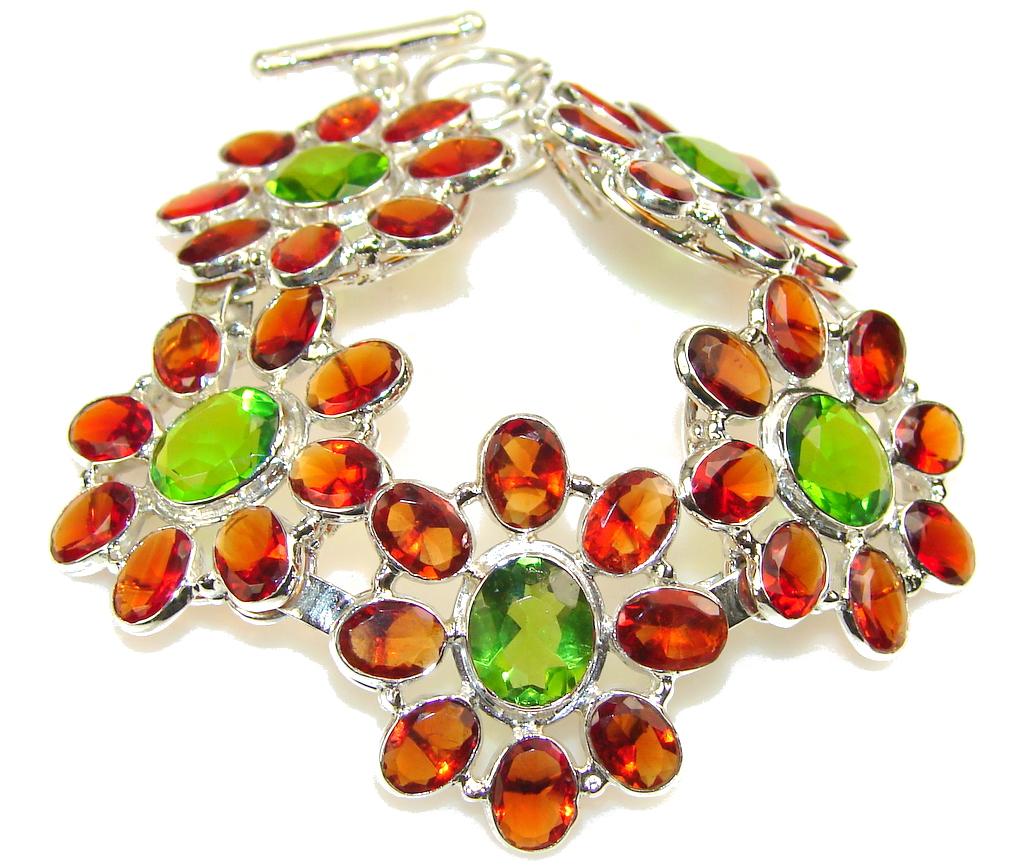 Created Garnet & Peridot Sterling Silver Bracelet