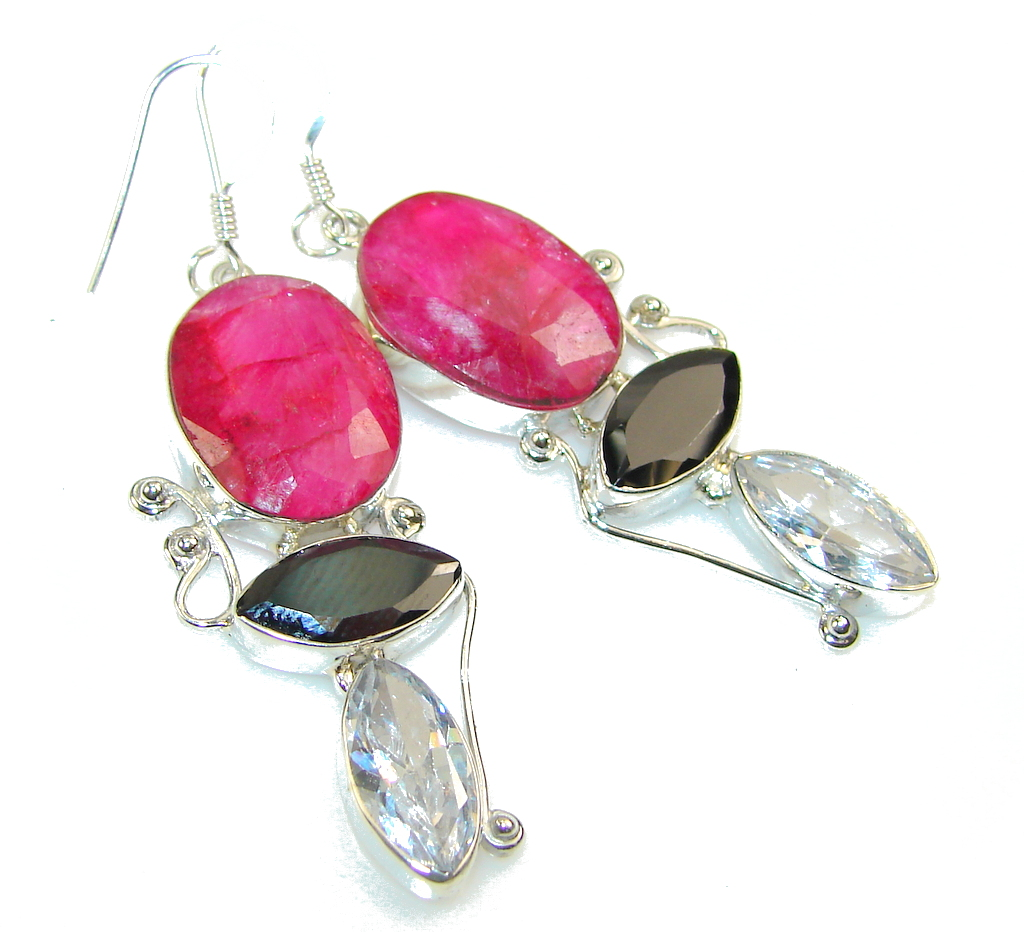 Excellent Design!! Pink Ruby Sterling Silver earrings