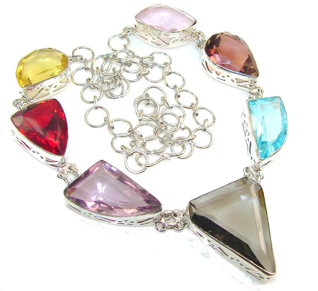 Summer Lights!! Multicolor Quartz Sterling Silver necklace