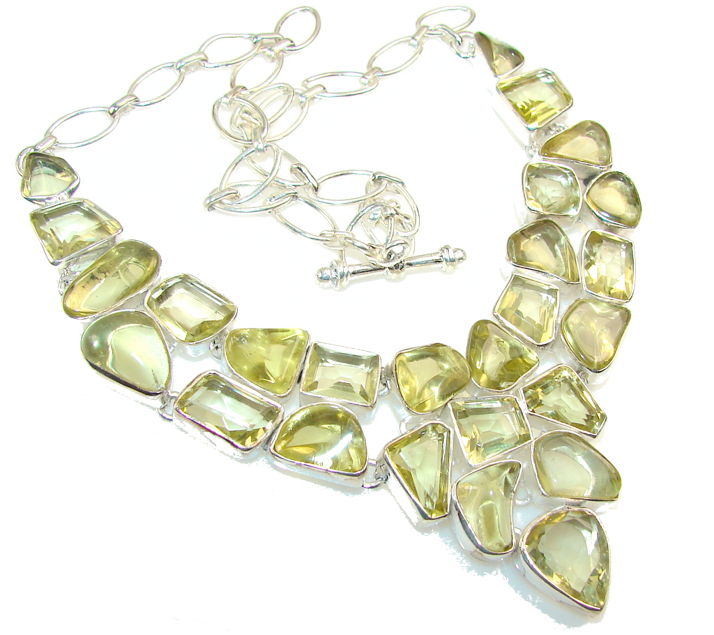 Summer Day!! Yellow Citrine Sterling Silver necklace
