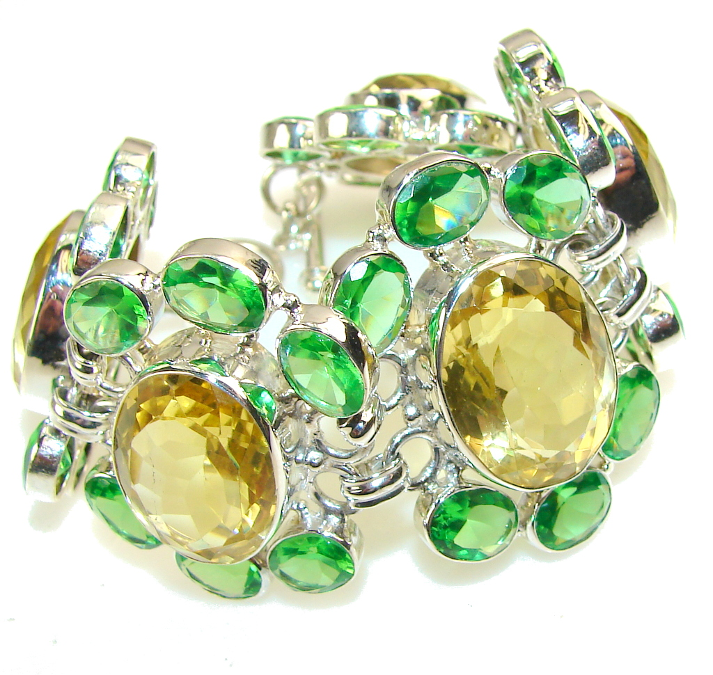 Great!! Green & Yellow Quartz Sterling Silver Bracelet