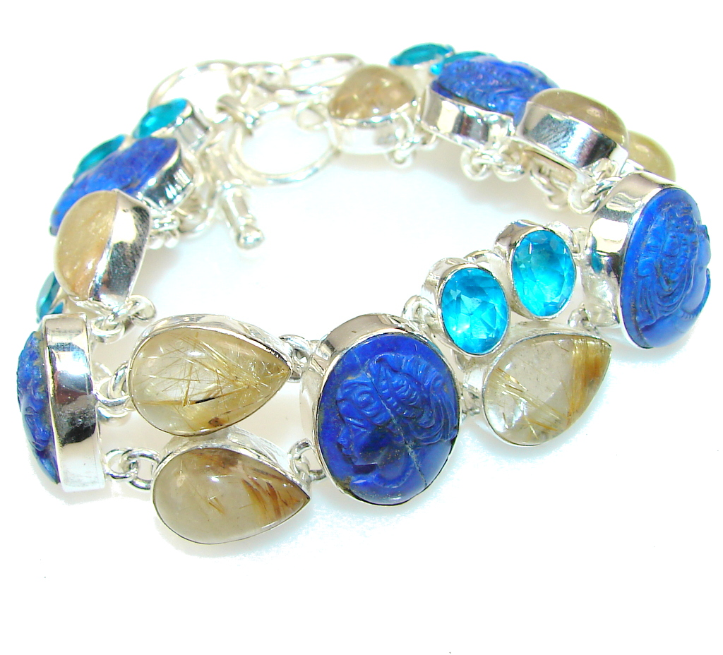 Secret Beauty Lapis Lazuli Sterling Silver Bracelet