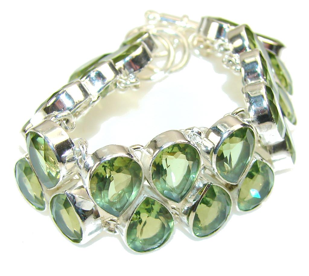 Fabulous Created Peridot Sterling Silver Bracelet