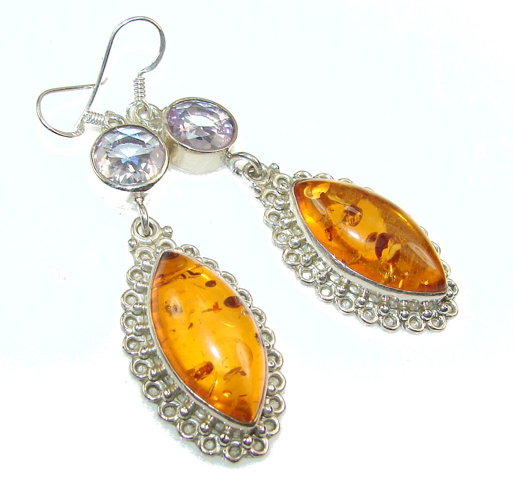 Excellent Polish Amber Sterling Silver earrings