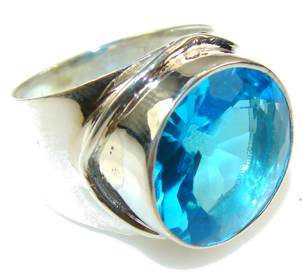 Amazing Blue Quartz Sterling Silver Ring s. 8 1/2
