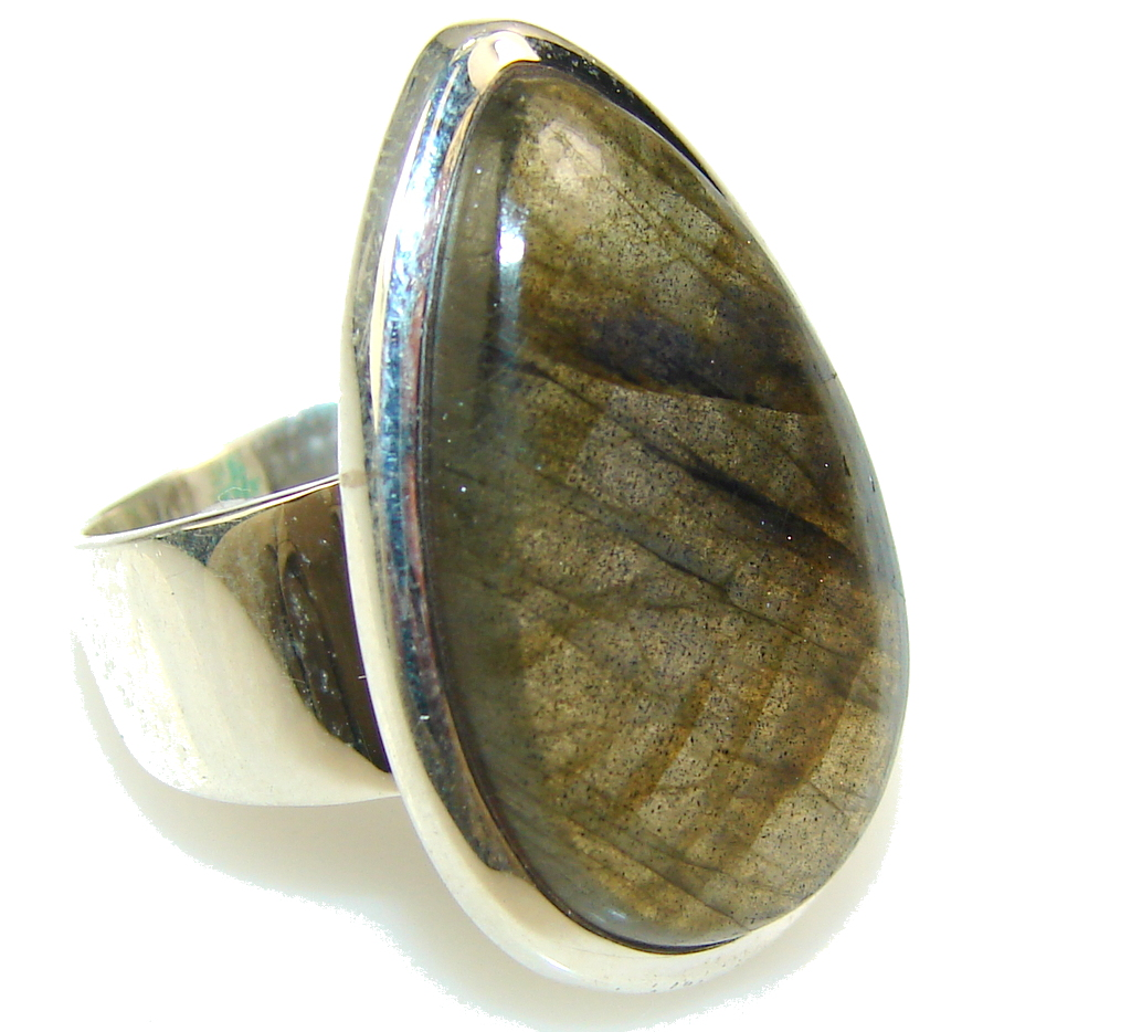 Amazing Blue Labradorite Sterling Silver Ring s. 7 1/4