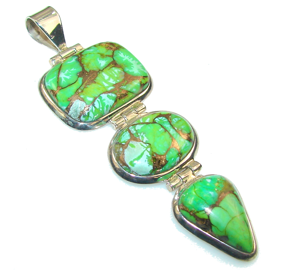 Big!! Fresh Green Copper Turquoise Sterling Silver Pendant
