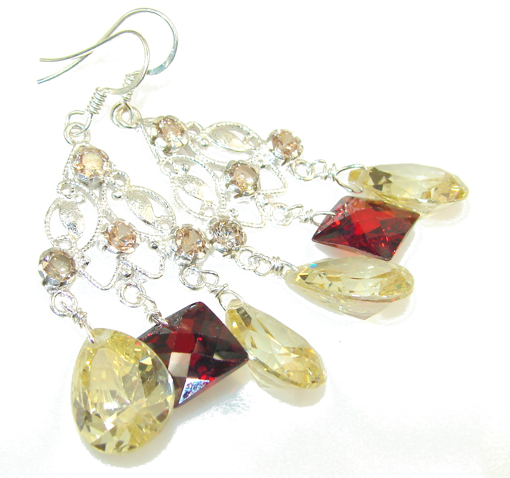 crystal earrings,Multicolor Genuine Crystal Sterling Silver earrings