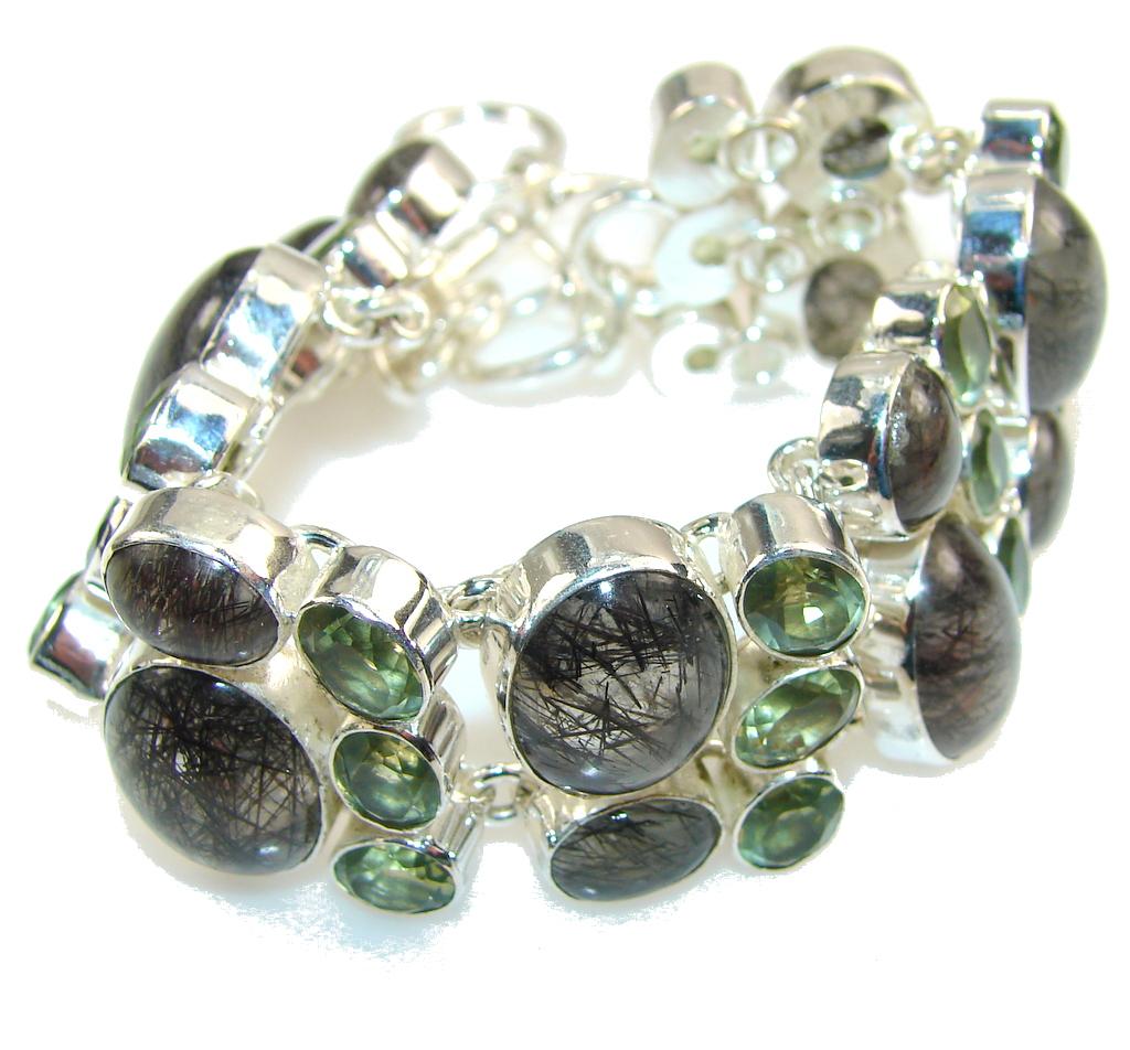 Get Glowing!! Tourmalinated Quartz Sterling Silver Bracelet