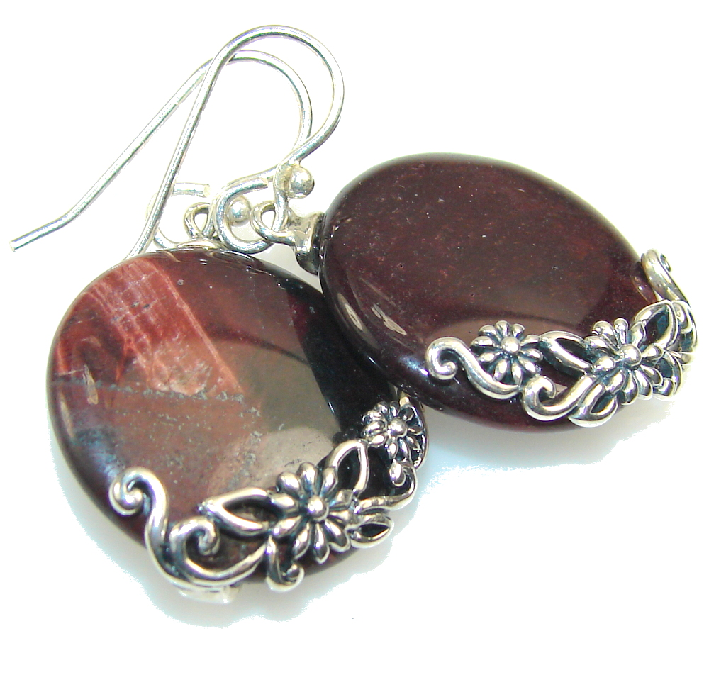 Image of Awesome Red Tigers Eye Sterling Silver earrings