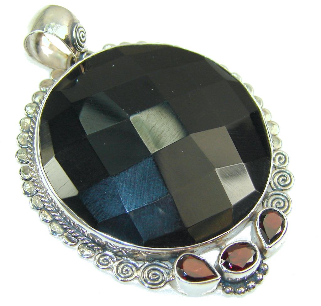 Gentle Black Onyx Sterling Silver Pendant