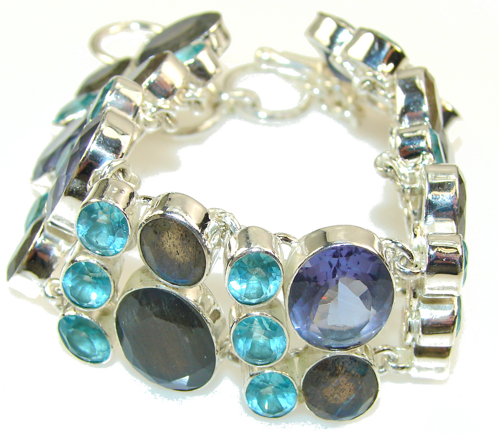 Halo Of Beauty!! Fire Labradorite Sterling Silver Bracelet