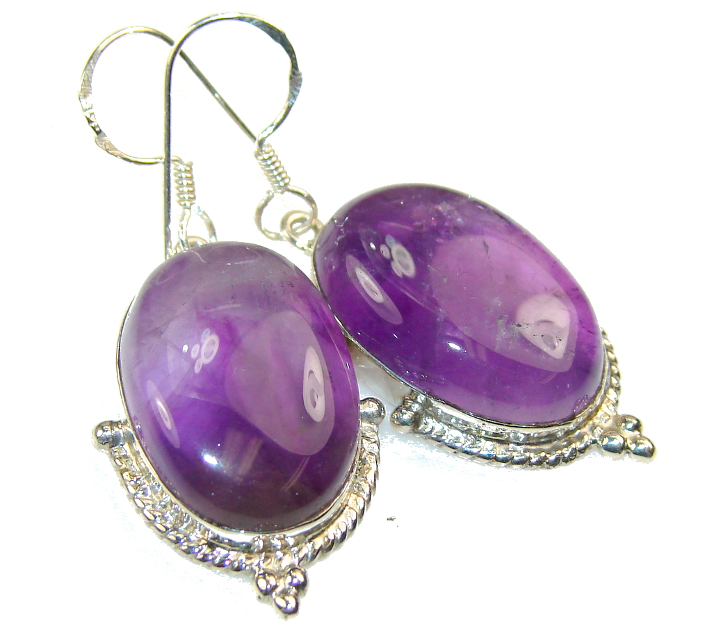 Amazing Purple Amethyst Sterling Silver earrings
