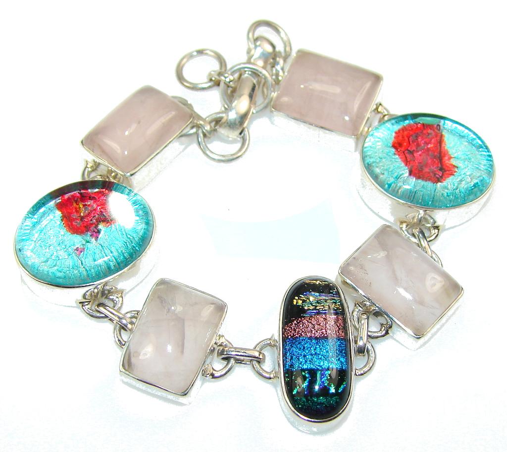 Unusal Style Of Dichroic Glass Sterling Silver Bracelet 72246