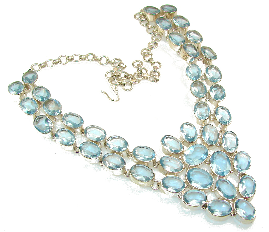 Huge!! Excellent Design Of Light Swiss Blue Topaz Sterling Silver necklace