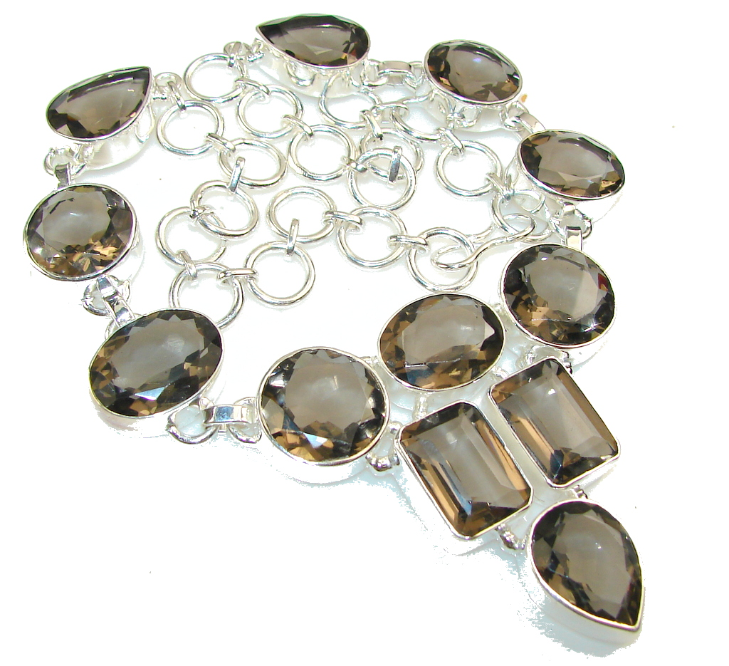 Wild Beauty!! Smoky Topaz Sterling Silver necklace
