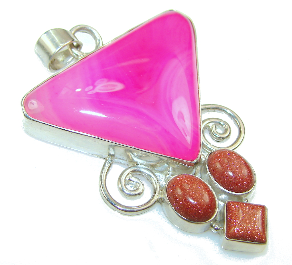 Amazing Color Of Pink Botswana Agate Sterling Silver Pendant