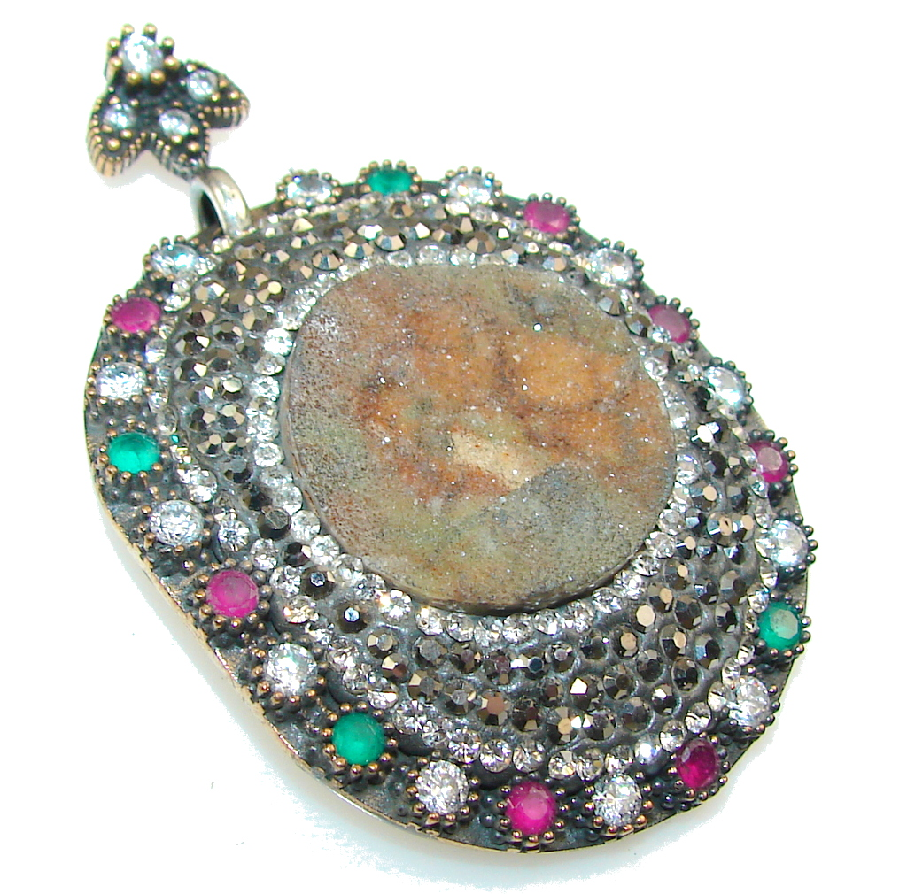 marcassite.com the marcasite jewelry place    New Turkish Design!! Druzy Sterling Silver Pendant