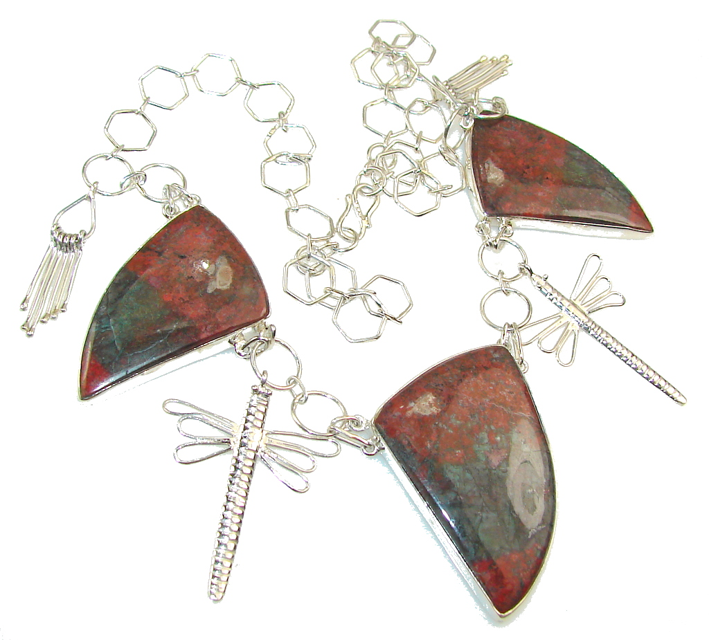 Excellent Red Sonora Jasper Sterling Silver Necklace