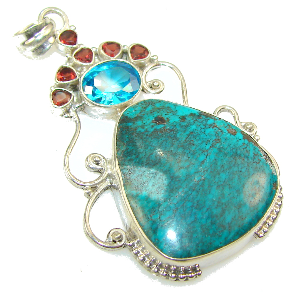 Fantastic Blue Chrysocolla Sterling Silver pendant