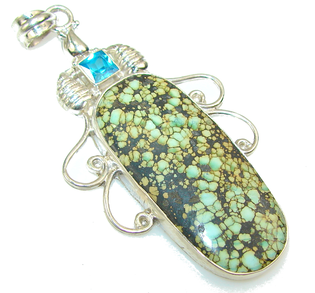 Classy Green Turquoise Sterling Silver Pendant