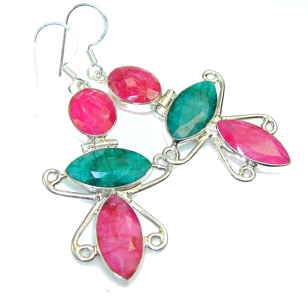 Aura Of Beauty! Pink Ruby Sterling Silver earrings