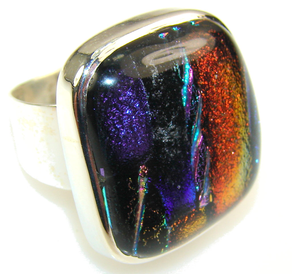 Excellent Dichroic Glass Sterling Silver ring s. 8 1/2